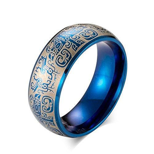 Daesar Titan Ring Herren Punk Vintage Retro Buddha Freundschaftsring Blau Ring Gr.65 (20.7)