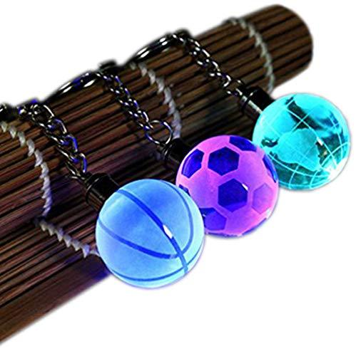 CZ-XING 3 Stks Sport Bal Sleutelhangers Creativiteit Sleutelhanger LED Kleurrijke Crystal Basketball/Voetbal/Globe