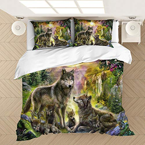 3 Piece Set Bedding Animal wolf 3D Printed Microfiber Duvet Cover Sets with 2 Pillowcases & Zipper Closure Quilt Case for single beds, double beds and king beds 79 x 79 inch