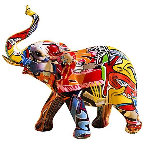 PDXGZ Escultura de Elefante Colorida Creativa de Elefante de Resina Estatua hogar Oficina Decoración, Artesanías de Escritorio Creativas Decoración Decoración del hogar