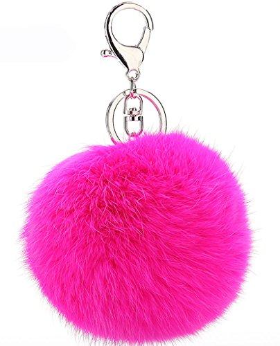 Bigood Porte-clés Trousseau Artificiel Fourrure Balle Ornement pour Clé Sac Voiture Rose Rouge
