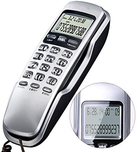 Teléfono Teléfono de inicio Teléfono fijo Montado en la pared Teléfono con cable, pequeño para llevar la pantalla de identificación de llamadas / teléfonos con botones grandes para personas mayores, o