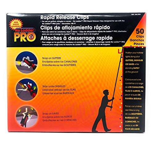 Pro No Ladder Rapid Release 50 Holiday Lights Gutter Clips