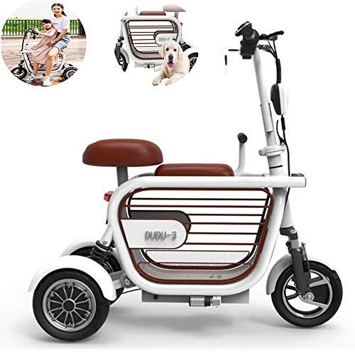 CHJ Folding Electric Scooter, Electric 3-Wheeler Two-Seater Outdoor Mobile Scooter for Women with Disabilities, 400W15A Lithium Battery Life 65KM