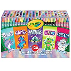 CRAYOLA CRAYONS: Features a coloring set of 120 Crayons, with 24 each of Confetti, Neon, Glitter, Pearlescent, and Metallic Crayons. DOUBLE WRAPPED & DURABLE: These kids crayons are double wrapped for extra strength. COLORING BOOKS & ART PROJECTS: Th...