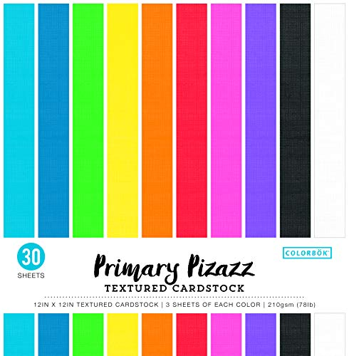 """ColorBok Textured Cardstock Paper Pad, 12"""" x 12"""", Primary Pizazz, Package may vary"""