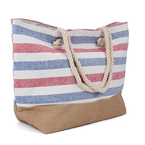 Tote Bag - Beach Bag - Beach Tote - Large Tote Bag with Rope Handles - Rutledge & King Patriot Designer Tote Bag - Polyester Linen/Jute Burlap Tote (2 Pack)