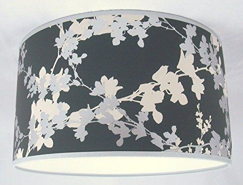 Handgemachte Lampenschirm 48cm - Laura Ashley Hawthorn Charcoal Tapete