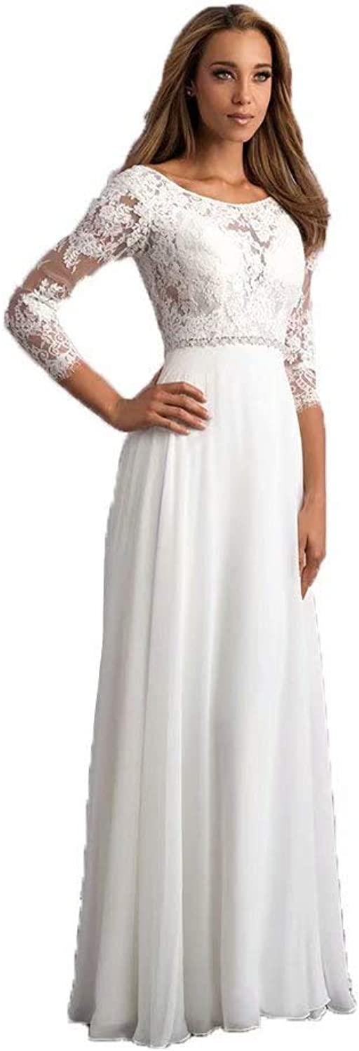 fe5cbe1d21 Unions Women's Round Neck Lace Appliques Beach Wedding Dresses for Bride  Bridal Gown