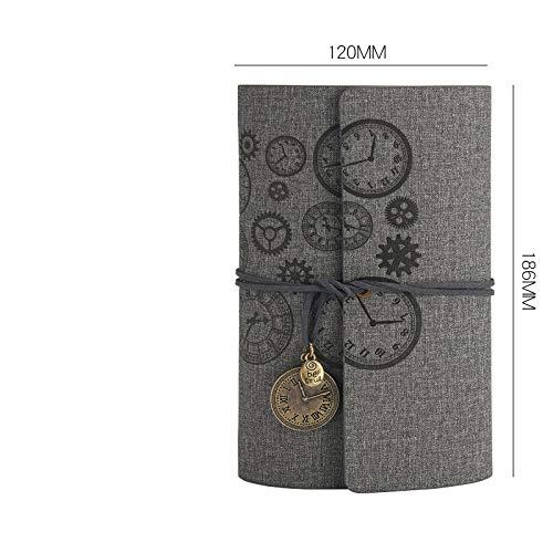 Diario de escritura del cuaderno de la cubierta de cuero de la PU retro, Bloc de notas diario del patrón del reloj retro, colgante vintage, relieve clásico, llevar 12.0 * 18.6cm