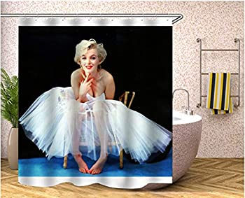 Youdepot Marilyn Monroe 72X72 inches Old Look Home Textile European Style Bathroom Decoration Decor Peculiar Design Hand Drawing Effect Fabric Shower Curtains with 12 Hooks