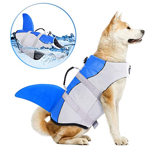 Dog Life Jackets Ripstop Pet Floatation Life Vest for Small Middle Large Size Dogs Dog Lifesaver Preserver Swimsuit for Water Safety at The Pool Beach Boating XL Blue Shark