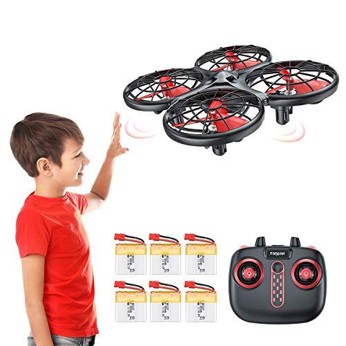 Tomzon D15 Handbetriebene Mini Drohne mit 6 Akkus, Flugzeit 38mins, Infrarot-Induktion UFO, Kollisionssicherer RC-Quadrocopter,360° Flip, Eine Taste Abheben / Landen Spielzeug Helikopter für Kinder