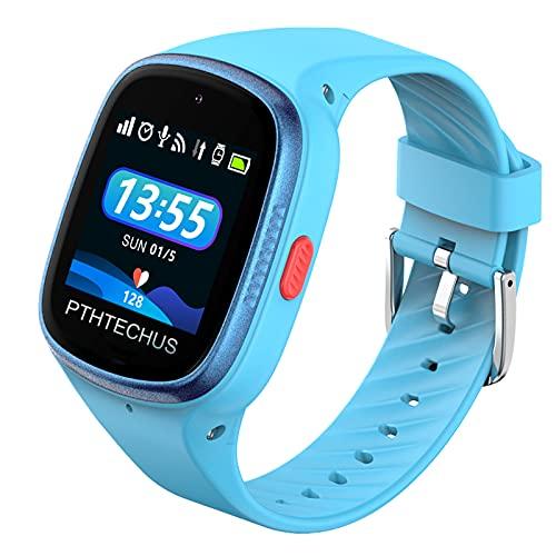 PTHTECHUS 4G GPS Niños Impermeable Smartwatch, Reloj Inteligente Telefono con WiFi Videollamada Chat de Voz Podómetro SOS Alarma Juego para Niños Niña 3-12 Años.