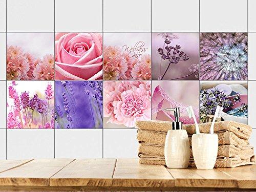 GrazDesign - Adesivi per piastrelle da bagno – Piastrelle da incollare con fiori in rosa e blu | Piastrelle con piastrelle | 10 motivi | pellicola autoadesiva per il bagno (10 x 10 cm // Set 10 pezzi)