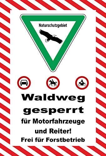 KE-Partyzubehör Schild 30x20cm Waldweg gesperrt - 3mm Aluverbund | Bohrlöcher - 20 Varianten