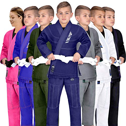 Elite Sports IBJJF Ultra Light BJJ Brazilian Jiu Jitsu Gi for Kids with Preshrunk Fabric and Free Belt, C3