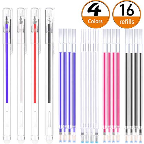 Bolígrafo Borrable de Calor Rotulador Borrable de Tela con para Sastre Costura, y Acolchado, 4 Colores de Marcadores Borrables para Telas de Colores Variados (16)