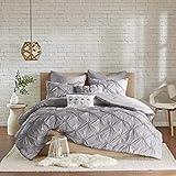 Urban Habitat Talia 7 Piece Chambray Comforter, Elastic, Diamond Tufted, Embroidered Pillows All Season Shabby Chic Bedding Set, Matching Shams, Full/Queen, Pintuck White