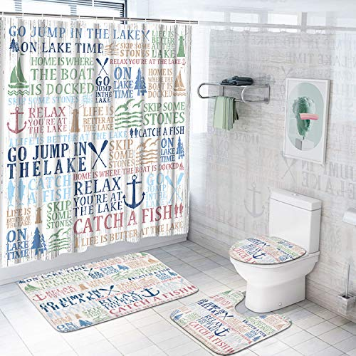 4 Pcs Funny Quotes Shower Curtain Sets with Non-Slip Rugs, Toilet Lid Cover and Bath Mat, Lake Words Shower Curtain with 12 Hooks, White Lake House Shower Curtain for Bathroom, Waterproof, Durable