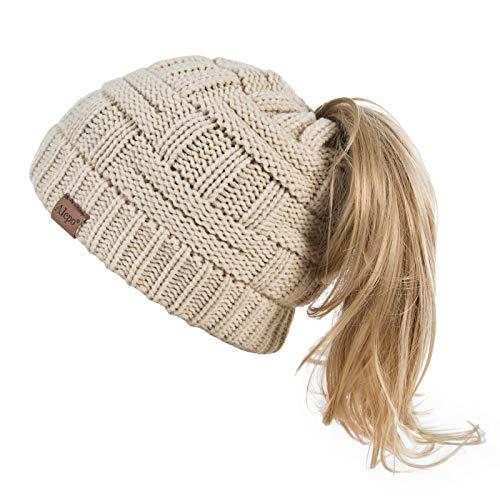 Alepo Womens High Messy Bun Beanie Hat with Ponytail Hole, Winter Warm Trendy Knit Ski Skull Cap (Beige)