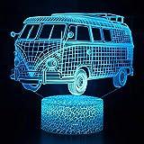 Bus 3D luz nocturna para niños 3D ilusión junto a la lámpara de mesa con 16 colores cambiantes y control remoto juguetes para niños 7 años niño regalos niño edad 7 6 5 4 3