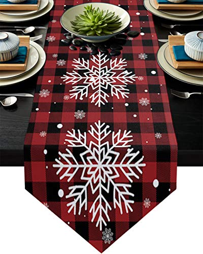 Z&L Home Linen Burlap Table Runner Dresser Scarves,Christmas Snowflake Table Runners for Dinner Holiday Party, Wedding, Kitchen Dining Decor Red and Black Buffalo Checker Plaid 14x72in