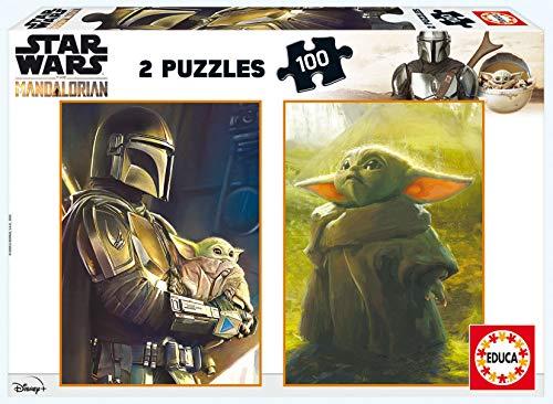 Educa Borras Educa-Star Wars, The Mandalorian. 2 Puzzles Infantiles de 100 Piezas. A Partir de 6 años (11872) (18872)