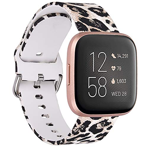 QINGQING Compatible with Fitbit Versa 2/Versa/Versa Lite Edition Band for Women, Silicone Fadeless Pattern Leopard Printed Replacement Wristband Strap for Fitbit Versa Smart Watch (Leopard)