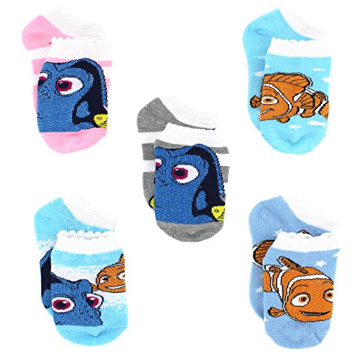 Finding Dory Nemo Girls 5 pack Socks (Shoe: 7-10 (Sock: 4-6), Lurex Dory Pastel)
