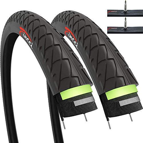 Fincci Set Paar 26 x 1,95 Zoll 53-559 Slick Reifen mit Sclaverandventil Schläuche und 2,5 mm Pannenschutz für Cityräder Rennräder Mountain MTB Hybrid Fahrrad (2er Pack)