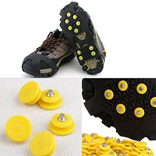 Jiayuane 10 PCS 10 dents Anti-dérapant Ice Grips Marchez les crampons de traction Pics de glace de neige pour la sécurité d'hiver