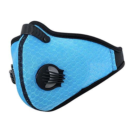 N/A Ademend Mesh Fietsmasker Stof Smog Winddicht Beschermend Nylon Mesh Bike MTB Fietsen Half Gezichtsmasker, E閚 maat, Blauw