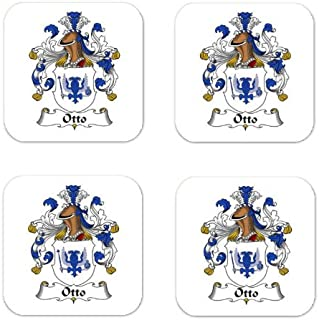 Otto Family Crest Square Coasters Coat of Arms Coasters - Set of 4