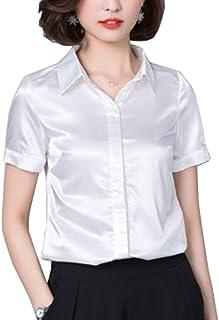 c2a3bb5f8 YOUMU Women Satin Silk Shirt Short Sleeve Button Down Formal Work Shiny Blouse  Top
