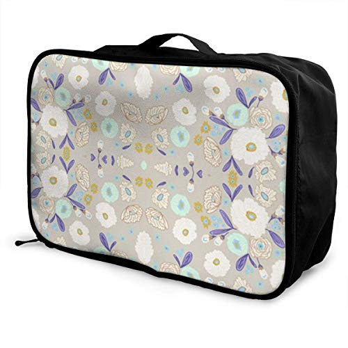Koffertaschen Indy Bloom Design Iced Florals Young Men and Women School Luggage Bag Lightweight Large Capacity Portable Holiday Travel Bags Tote Duffel Carry-on in Trolley Holiday Suitcase