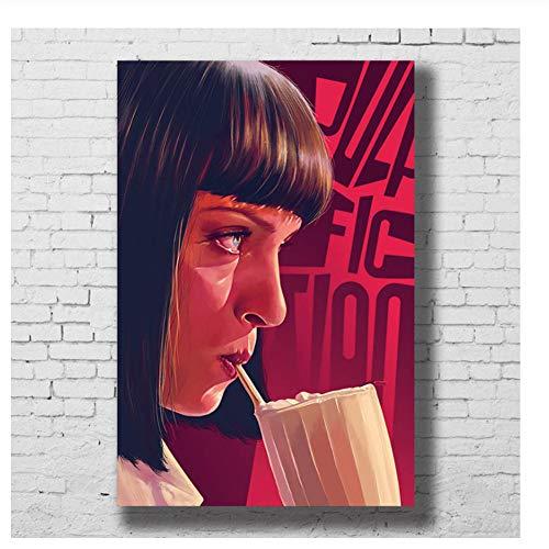 Suuyar Movie Poster Wandkunst Pulp Fiction Klassische Leinwanddruck Malerei Dekorative Bild Tapete Schlafzimmer Decoration-50x75cm Kein Rahmen
