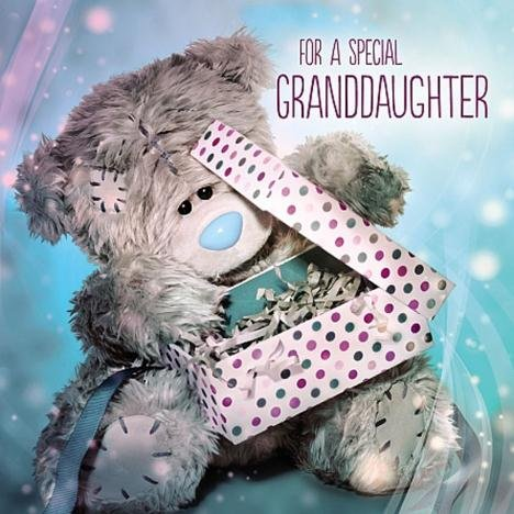 Me To You Tatty Teddy 3D Holographic Card - For A Special Granddaughter - Bear opening present