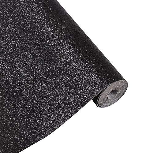 23x135cm MeCan Glitter Leather Sheets Superfine Shiny Faux Fabric Canvas Perfect for Craft DIY Handmade Jewelry,9x53 Black
