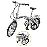 "Ridgeyard - Bicicleta de 20"" y 6 velocidades color plata plegable regulable City Bike escuela..."