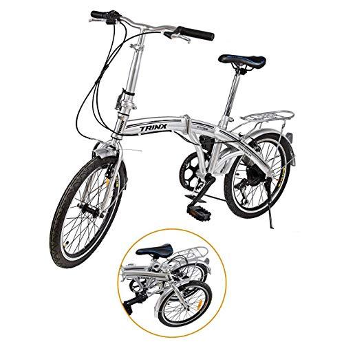"Ridgeyard 20\"" 6 Speed Silver Folding Foldable Adjustable City Bike Bicycles School Sports Shimano"