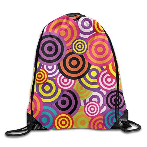 Etryrt Premium Drawstring Bag, Gym Drawstring Bags Retro Circles Colorful Draw Rope Shopping Travel Backpack Tote Student Camping