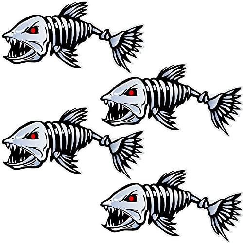 2 Pack Fish Skeleton Decals Sticker Vinyl Fish Car Decals Waterproof Kayak Boat...
