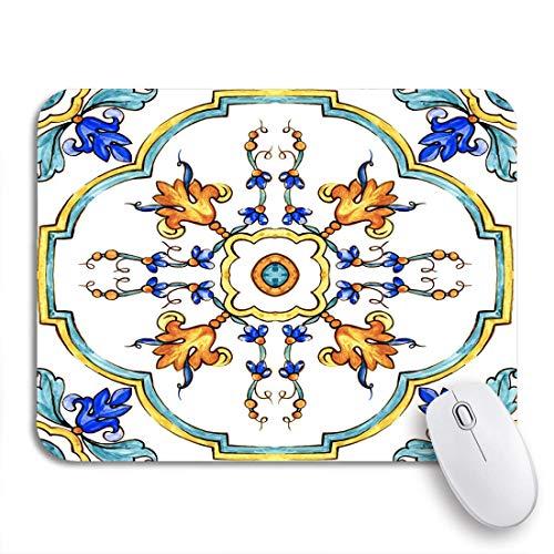 Gaming Mouse Pad Aquarell Ornamente auf italienischen Fliesen Majolica Cyan Umriss blau rutschfeste Gummi Backing Mousepad für Notebooks Computer Maus Matten