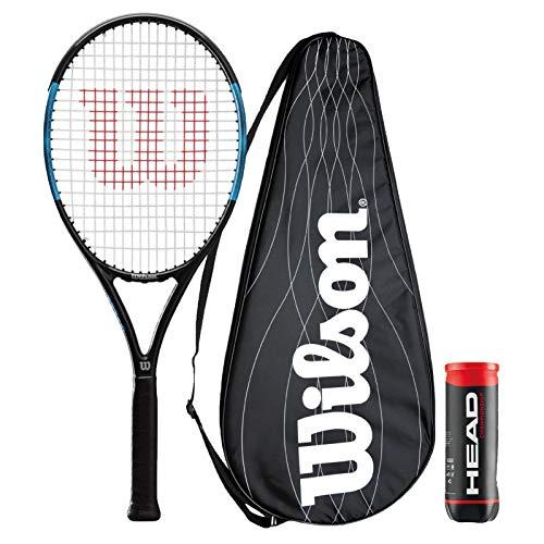 Wilson Ultra Power Raqueta de tenis serie + cubierta de rendimiento y 3 pelotas de tenis de campeonato (varios modelos disponibles) (Ultra Power Pro 105)