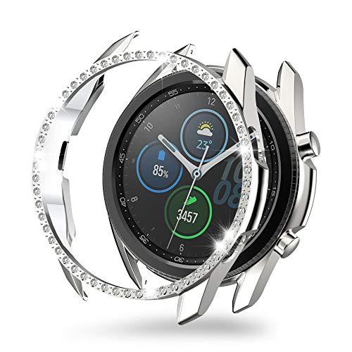 MJRom für Samsung Galaxy Watch 3 Hülle 41mm, PC Bling Schutzhülle Stoßstangenschale Kompatibel mit Samsung Galaxy Watch 3 (2020) Smartwatch Zubehör (41mm, Silber)