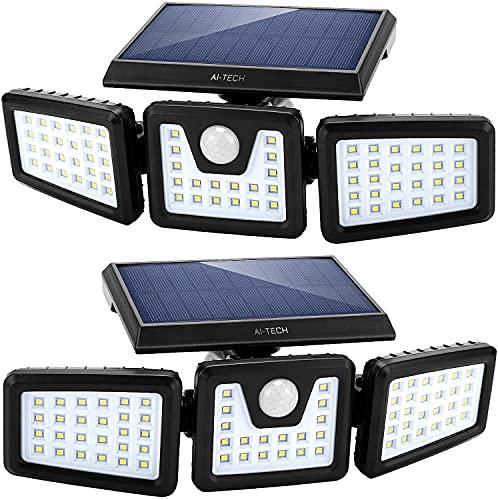 Luz solar LED exterior con 3 paneles de LED giratorios 360° y 2200 lúmenes, lámpara solar exterior con sensor, LED ultra...