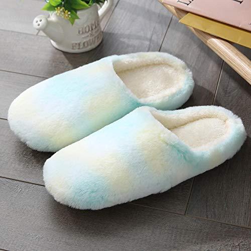 Zapatillas Casa Hombre Mujer Invierno Pantuflas Zapatos Cálidos Mujer Chanclas Cómodas Zapatos De Moda-Sky_Blue_L
