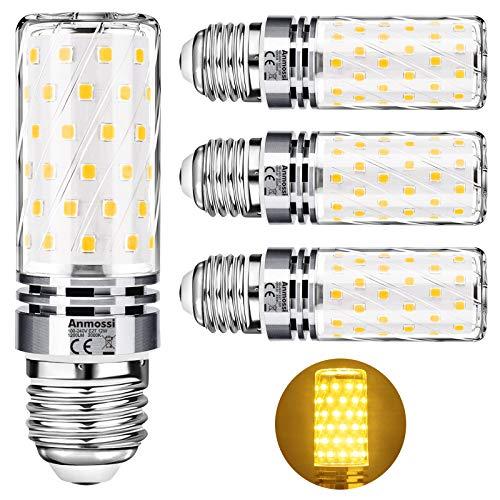 Anmossi Bombillas LED E27 3000K,12W LED maíz Bombilla equivalente a 100W Incandescente Bombilla,Blanco Cálido,1200Lm,No regulable,Edison Tornillo Bombillas,4 unidades