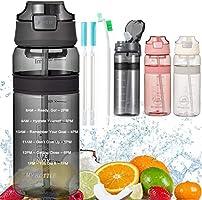Waterfles met Rietje Drinkfles met tijdmarkering BPA Gratis sportfles, lekbewijs fietsfles voor kinderen Gym Camping...
